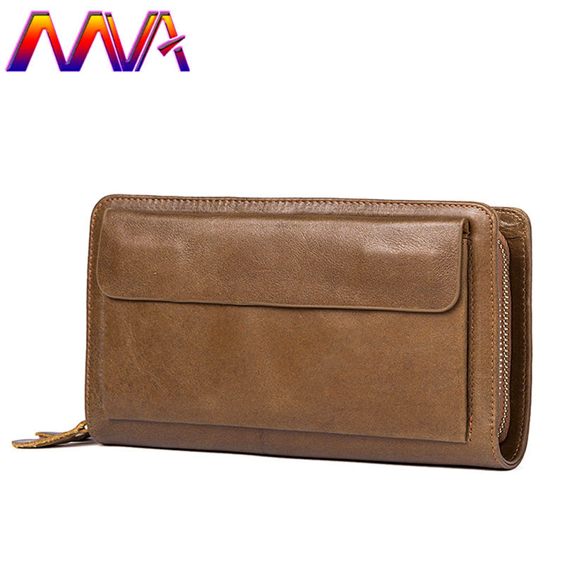 MVA Newly design cow leather men wallet for fashion business men long wallet by 100% genuine leather men handbag wallets