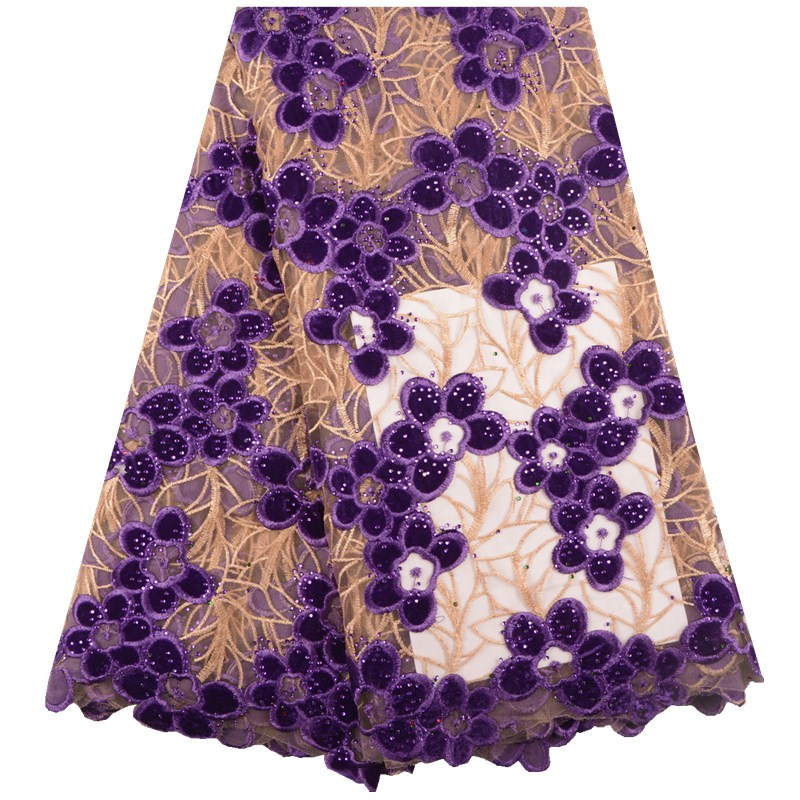 High Quality Tulle Net Lace Fabric 2019 Latest African Lace Fabric Sequins Flower Applique French Lace