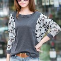 2015 Hot Sale Women Lace Blouse Plus Size Batwing Long Sleeve Blusas Femininas Casual Blouse Shirt Drop Shipping SV07 SV015842