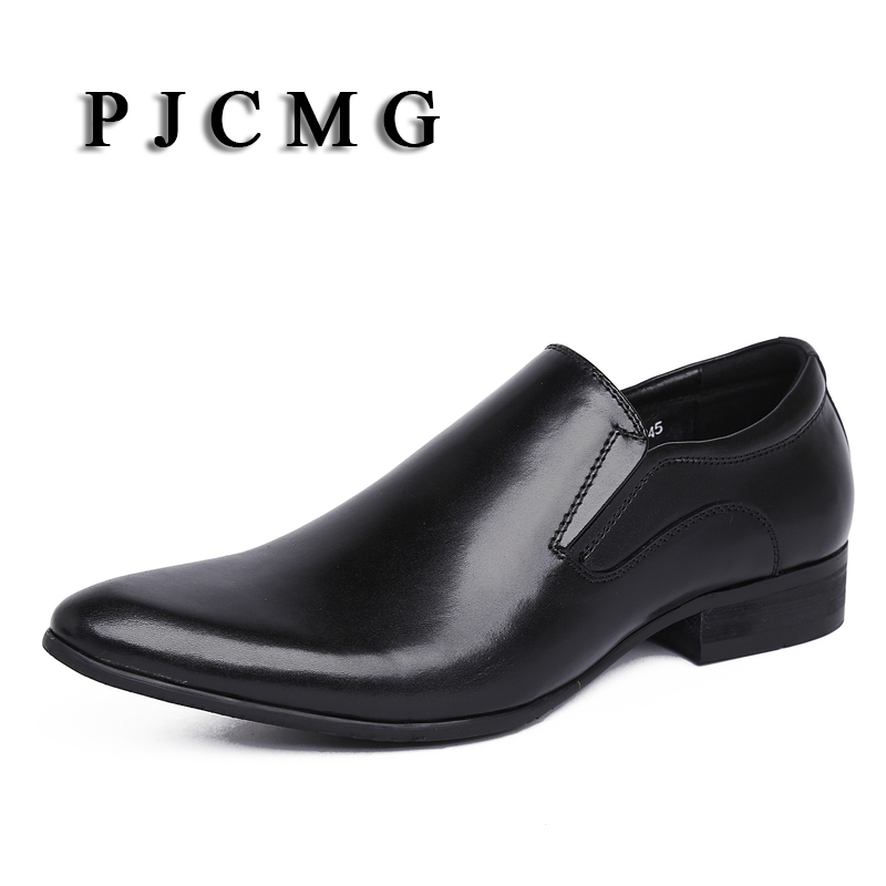 PJCMG Spring/Autumn Men's Genuine Leather Pointed Toe Slip-On Flats Dress Oxfords Business Office Wedding For Men Flats Shoes pu pointed toe flats with eyelet strap