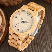 High Quality Men Quartz Watches 100 Nature Bamboo Case Luminous Function Full Bamboo Watch Band Strap