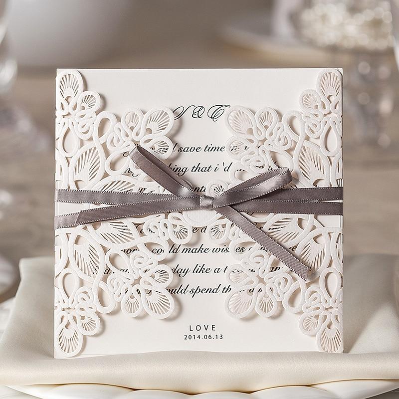 30pcs/set White Laser Cut Vintage Wedding Invitation Cards Elegant ...