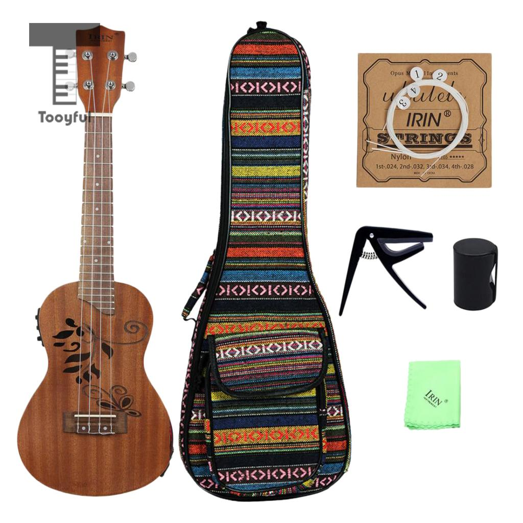 Tooyful IRIN 24 inch EQ 4 Strings Ukulele Sapele Acoustic Electric Uke Hawaiian Guitar Musical Instrument for Students Concert