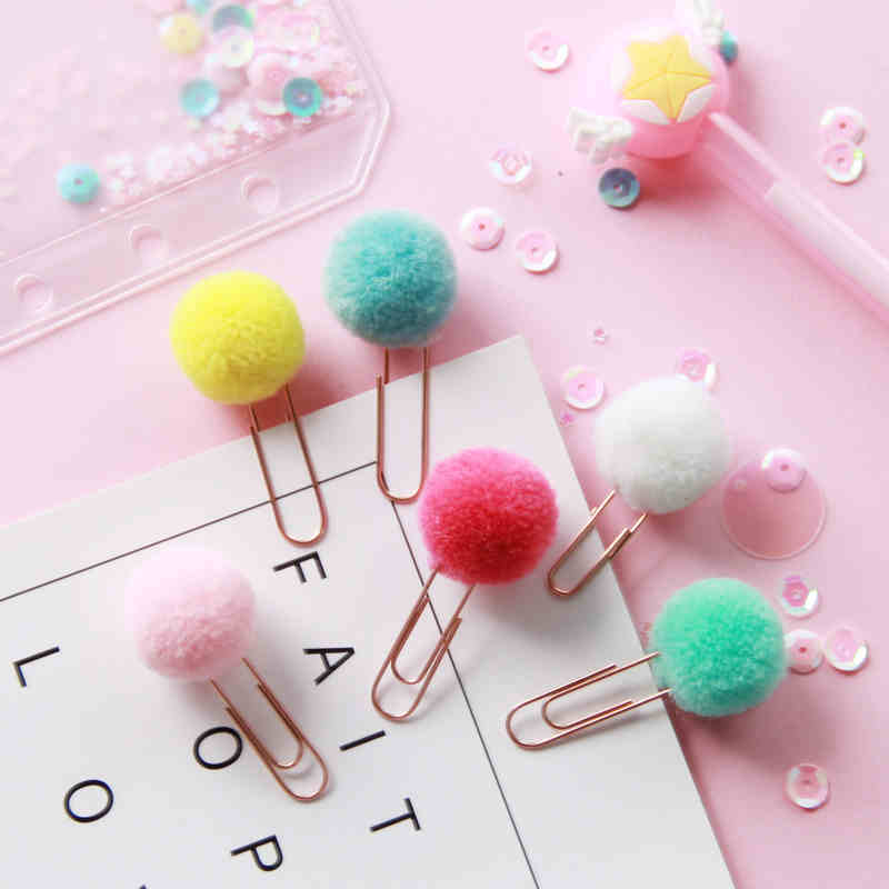 72 Pcs/Lot Cute POMPON Bookmark Metal Clips Color Fluffy Ball Page Holder Stationery Office School Supplies Marcapaginas A6108