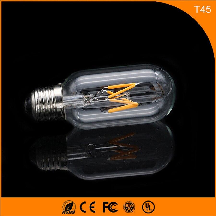 50PCS 3W E27 B22 Led Bulb, T45 LED COB Vintage Edison Light ,Filament Light Retro Bulb AC 220V 5pcs e27 led bulb 2w 4w 6w vintage cold white warm white edison lamp g45 led filament decorative bulb ac 220v 240v