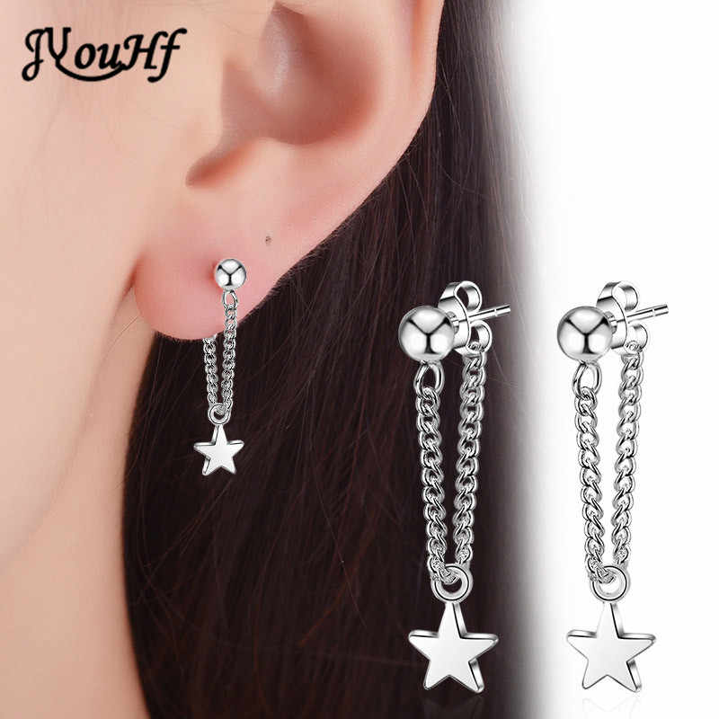 JYouHF New 925 Sterling Silver Stud Earring Women Jewelry Classic Star Pendant with Ear Wire Chain Earrings for Women Party Gift