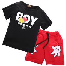 Hi Hi Baby Store 2pcs Toddler Kids Baby Boy Mickey T-shirt +Shorts Cotton Outfits Clothes Set 2-7 Y