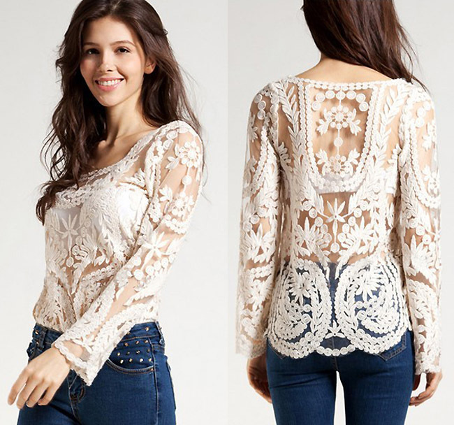 Blusas Femininas 2016 Women Embroidery Crochet Lace Long Sleeve Hollow Blouses Casual Solid O-Neck Blouse Shirt  Tops