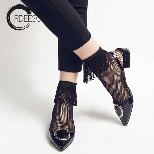 ba05db87e ORDEESON Verano 2017 Sexy mujer negro Nylon Calcetines cortos moda Fishnet calcetines  fantasía macramé red sólida