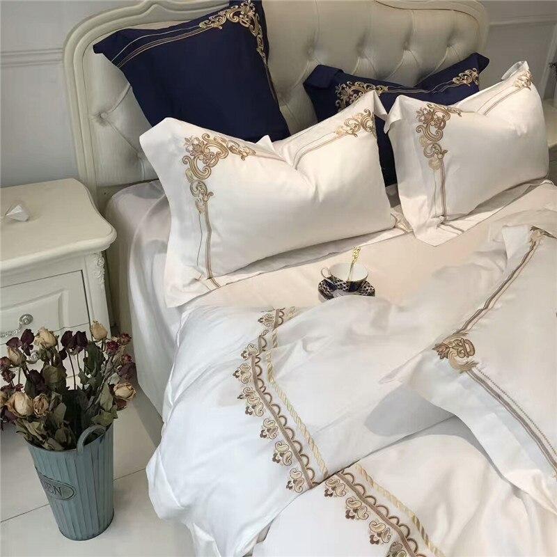 5 sztuk luksusowe biały niebieski pościel z egipskiej bawełny król Queen size zestawy pościeli orientalne złoty haft kołdra pokrywa zestaw prześcieradeł poszewka na poduszkę w Zestawy pościeli od Dom i ogród na  Grupa 2