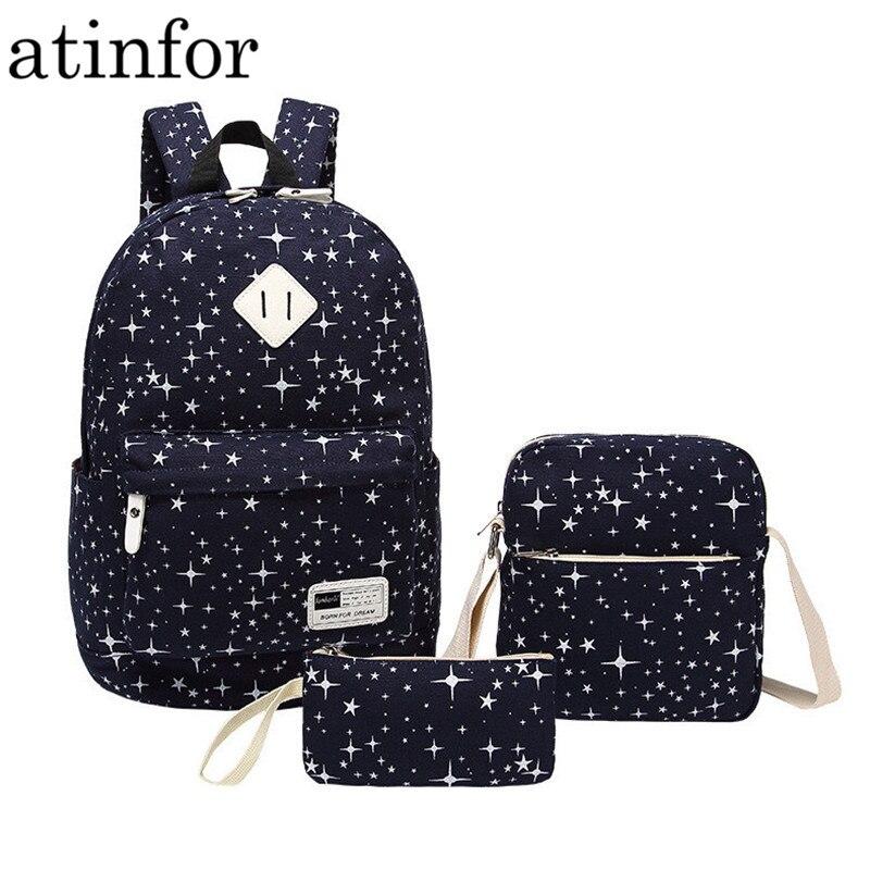 Brand Set Female Bag Print Star Backpack Bookbag Laptop Women Canvas Space School Backpacks Bags for Teenagers