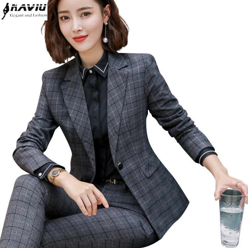 Modest 2019 New Fashion Plaid Slim Pants Suits Ol Professional Business Plus Size Long Sleeve Blazer And Trousers Office Lady Work Wear