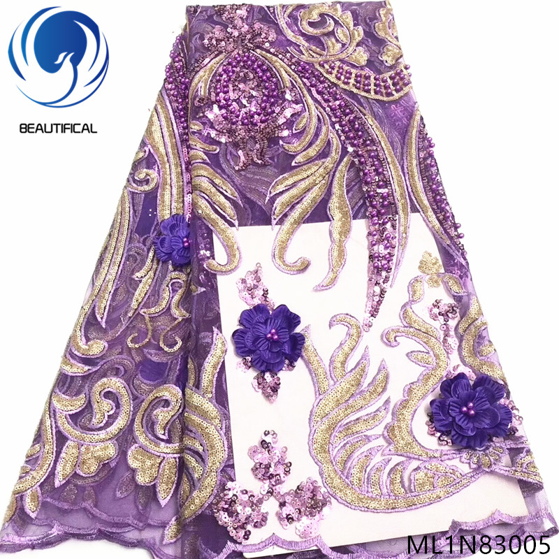 BEAUTIFICAL nigerian lace fabrics 2019 New 3d flowers net lace beads fabric embroidery french lace sequins fabric ML1N830