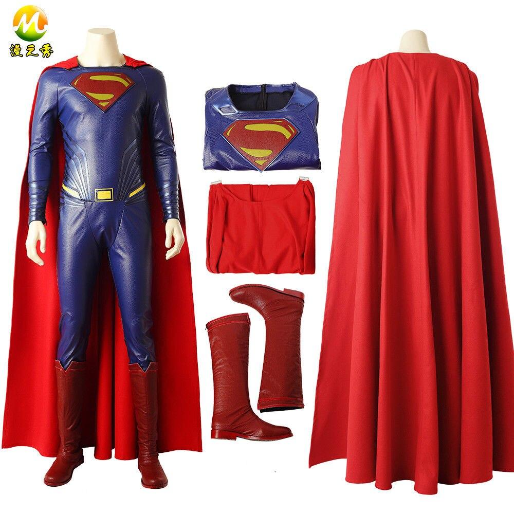 Высококачественный Постер Супергерои, костюм для косплея, Костюм Супермена Кларка Кента для Хэллоуина, полный комплект для мужчин, изгото