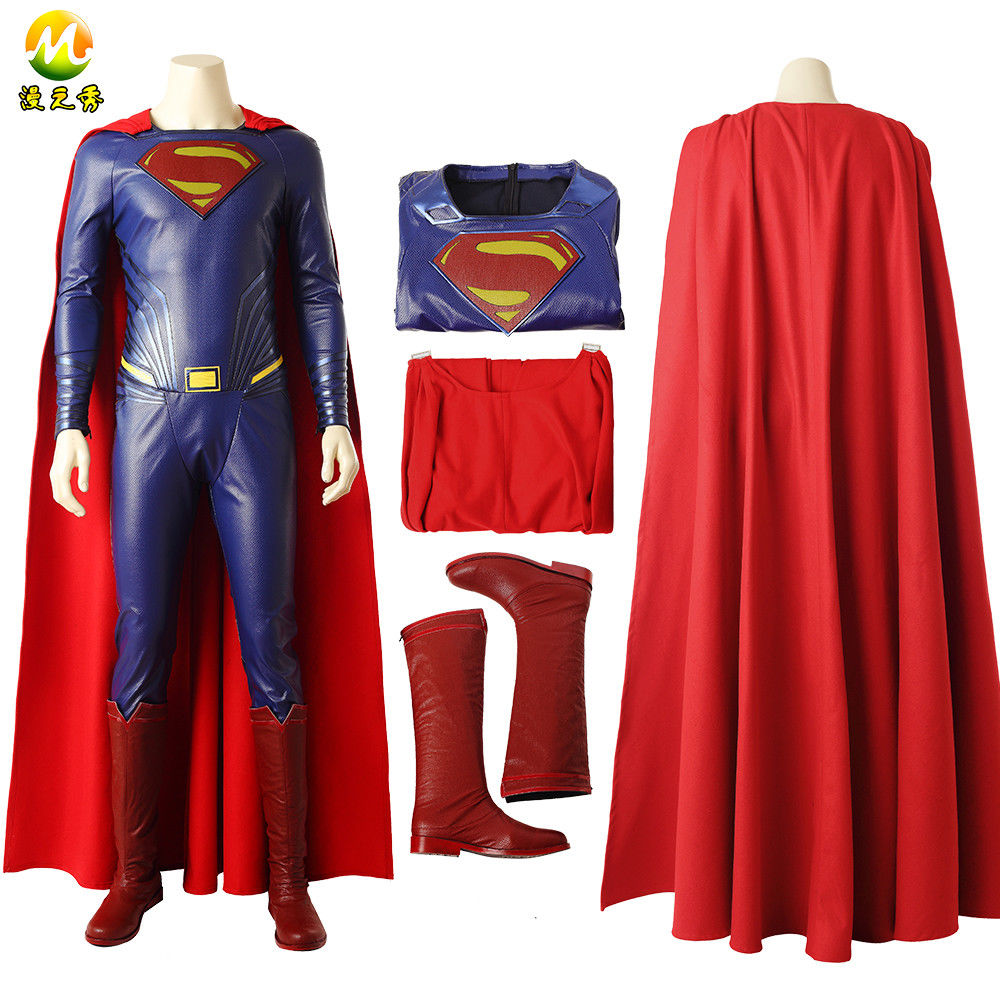Top Quality Justice League Superman Cosplay Costume Clark Kent Superman Costume For Halloween Men Full Set Super Man Custom Made