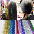 1PC Clip In Hair Extensions 16Inch Bella Via Tinsel Hair Extension Bling String 3D Rainbow 1 Clip Hairpiece