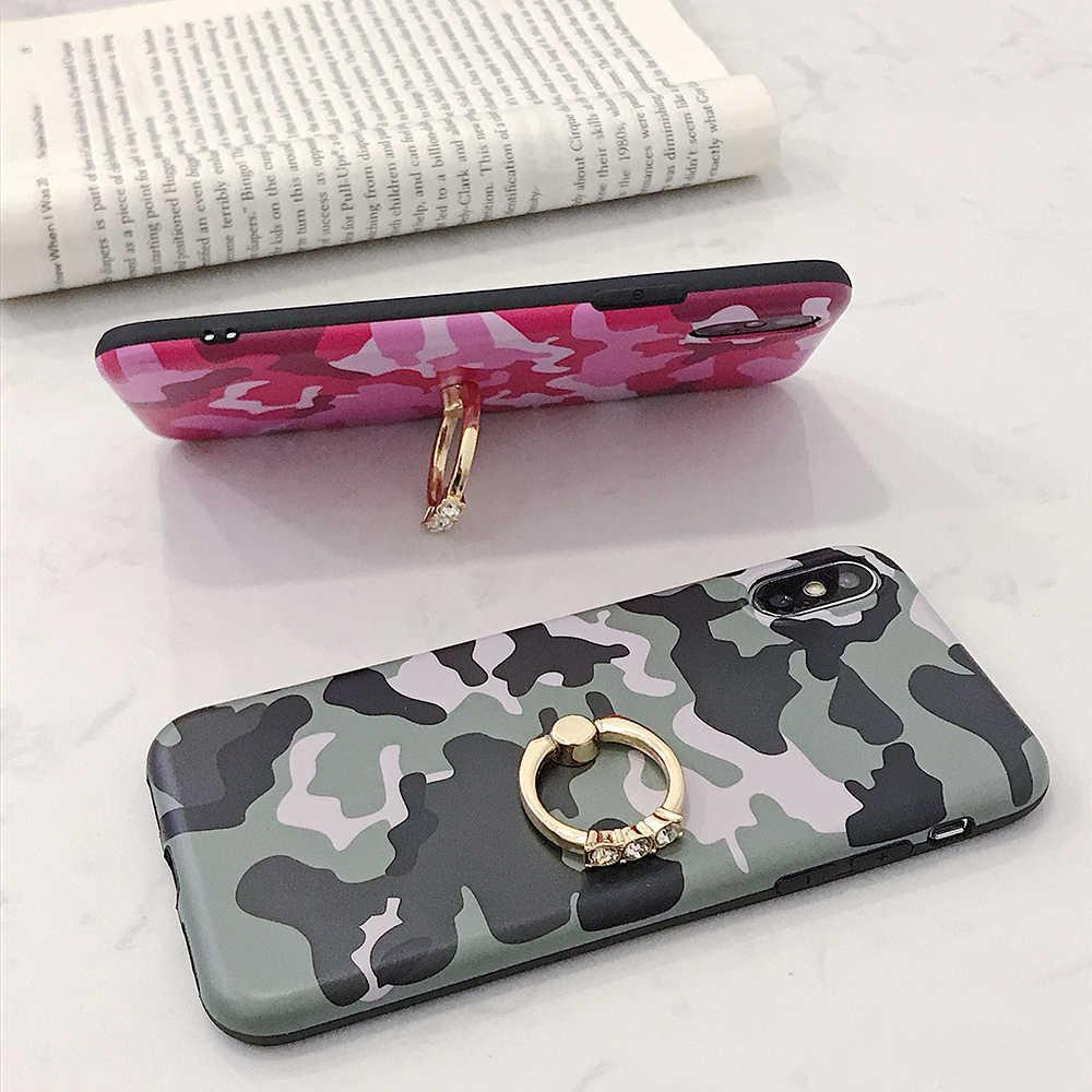 Винтажный камуфляжный чехол LOVECOM для iPhone XS Max XR 6 6S 7 8 Plus X XS матовый мягкий IMD с кольцом-держателем задняя крышка для телефона