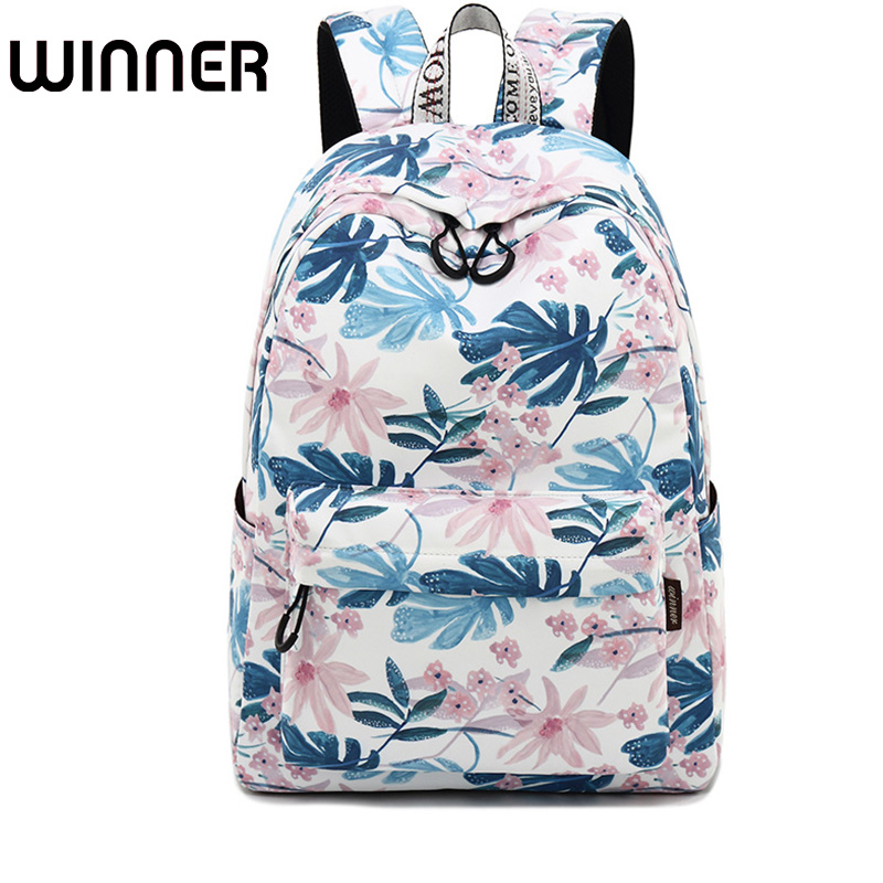Fashion Waterproof Polyester Women Backpack Flower Printing Female Daily Laptop Rucksack Girls College Mochila