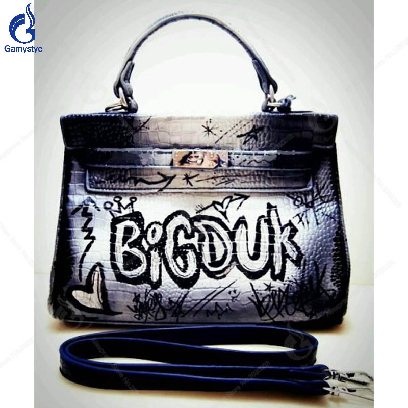 New Genuine Leather Handbag Art Oil Hand Drawing Black Bag Luxury Handbags Women Bags Designer Togo Leather Casual Totes Bags Y art hand printed bags for women 2018 100% genuine leather top handle bags high capacity vintage casual totes togo leather bag y