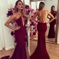 Sexy Burgundy Mermaid Prom Dresses 2016 Backless Spaghetti Straps Satin Prom Dress Amazing Cheap Red Prom Gowns RM61