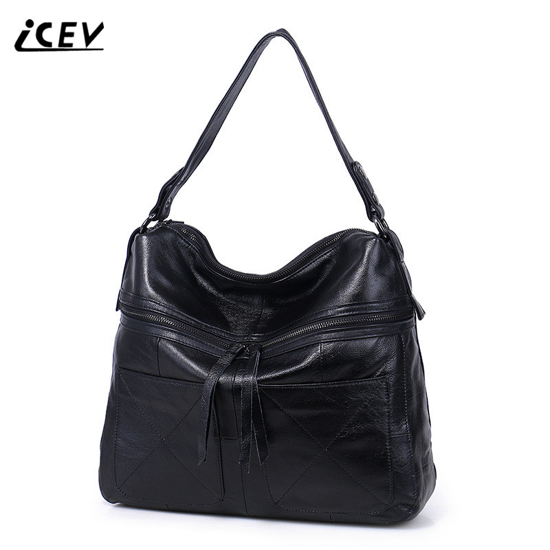 ICEV New Fashion Cow Leather Bags Handbags Women Famous Brands High Quality Genuine Leather Handbags Women Leather Handbag Totes icev new korean fashion high quality simple genuine leather saddle crossbody bags for women messenger bags cow leather handbags