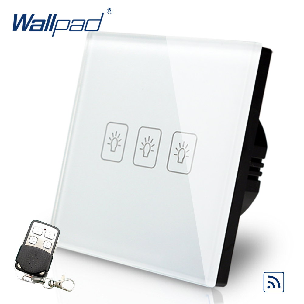 White 3 Gang 1 Way Remote Control Touch Switch Crystal Glass Switch Wallpad Luxury EU Standard Switch With Remote Controller smart home eu touch switch wireless remote control wall touch switch 3 gang 1 way white crystal glass panel waterproof power