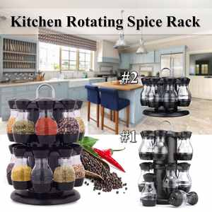 Rack Container Bottle Condiment-Set Castor Spice-Jar Sugar-Seal Kitchen Cruet Rotating