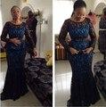 Negro de encaje Vestidos de Noche 2017 Estilo Nigeriano Africana Del Cordón Prom Vestidos Madre De La Novia Vestidos de Mangas Largas vestidos de noche