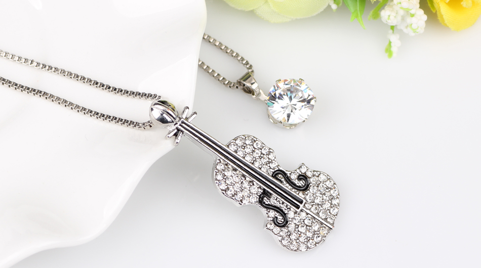 silver violin necklace
