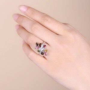 Image 2 - פנינה של בלט טבעי טורמלין 925 סטרלינג כסף טבעות לנשים טרנדי רומנטי פרח חתונת אירוסין תכשיטי Accessorie
