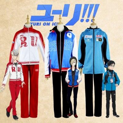 Anime YURI !!! on ICE Yuri Katsuki  Victor Nikiforov  Yuri Plisetsky Cosplay Costume Hight Quality Jackets Hoodie Pants-in Anime Costumes from Novelty & Special Use