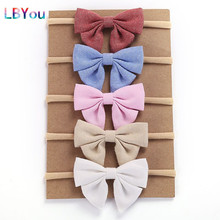 5pcs/lot Girls Nylon Headbands Handmade Cotton Linen Bows Elastic Stretchy Hairbands Kids Knotbow Hair Accessories