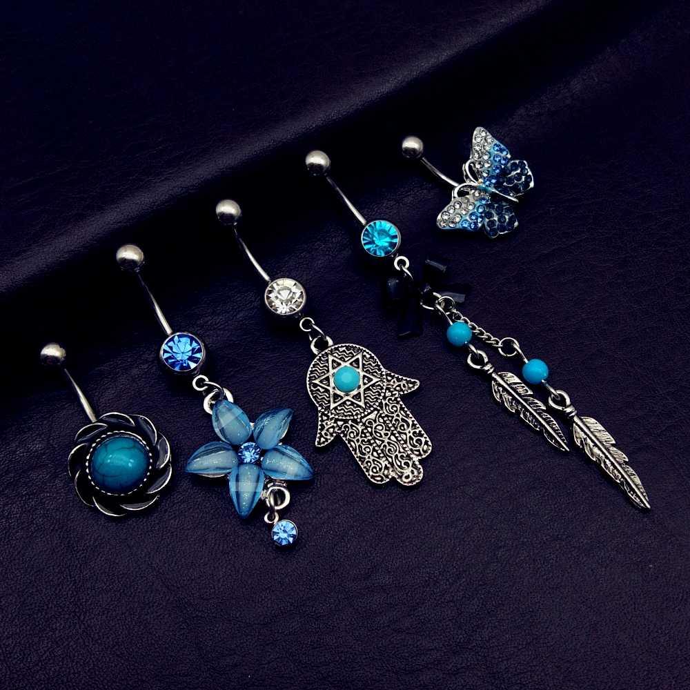 Винтажная бабочка, ручная бабочка, 5 шт., смешанный стиль, болтается в виде цветов, пупка, кнопки, кольца, пирсинг тела, украшения, 2019