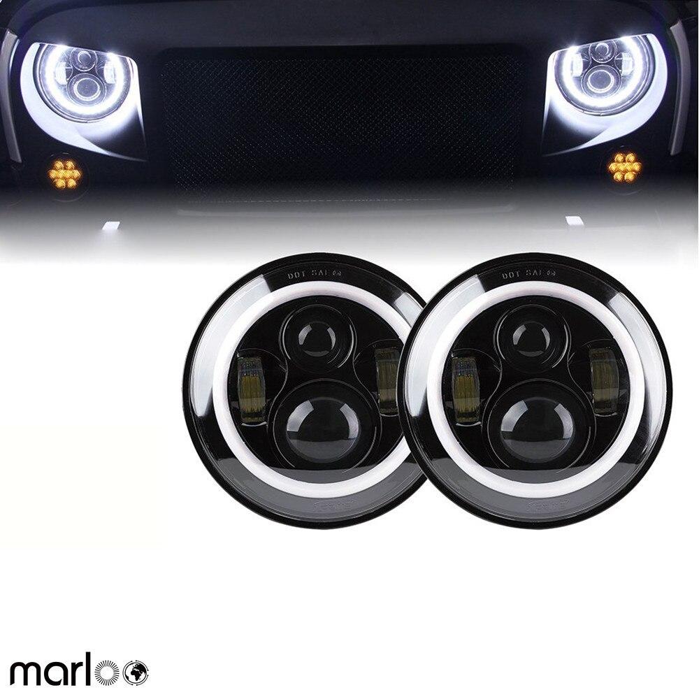Marloo 2 pcs 7 LED H4 phare daymaker drl clignotants halo pour Jeep Wrangler JK TJ LJ Land Rover Defender Lada 4x4 urbain Niva