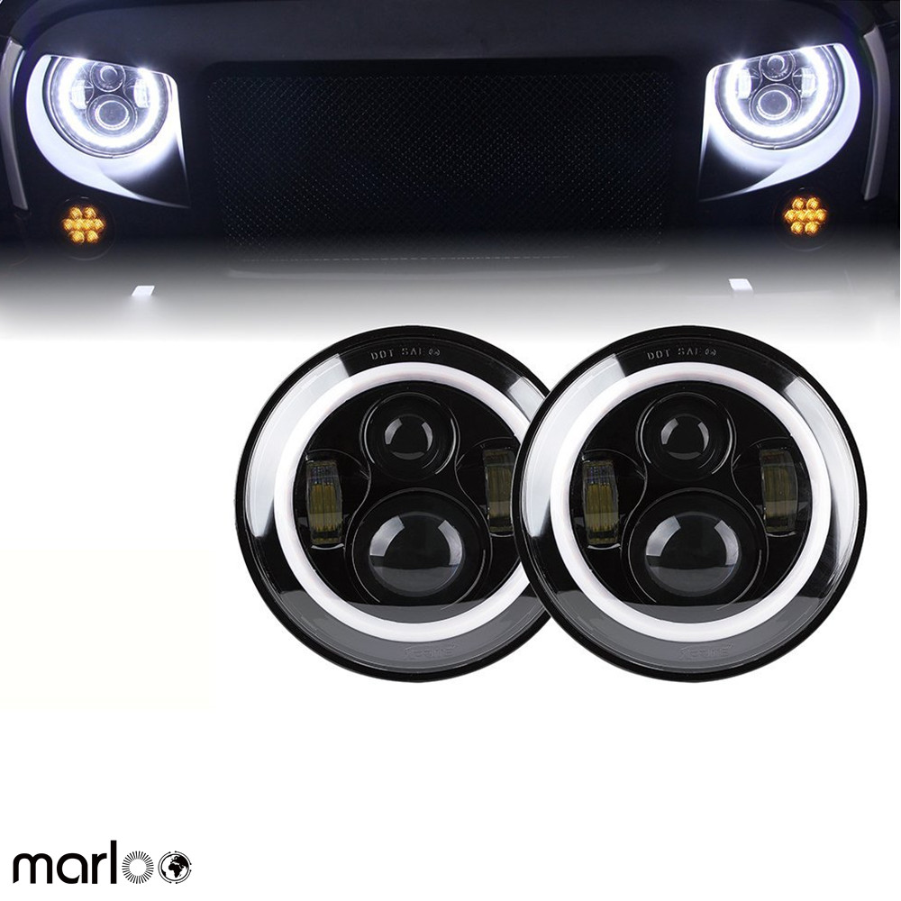 Marloo 2pcs 7 LED H4 headlight daymaker drl turn signal halo for Jeep Wrangler JK TJ LJ Land Rover Defender Lada 4x4 urban Niva 75w 5d 7 inch round led projector daymaker headlight for jeep wrangler jk land rover defender 90