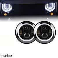 Marloo 2pcs 7 LED H4 headlight daymaker drl turn signal halo for Jeep Wrangler JK TJ LJ Land Rover Defender Lada 4x4 urban Niva