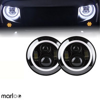 Marloo 2pcs 7 LED H4 headlight daymaker drl turn signal halo for Jeep Wrangler JK TJ LJ Land Rover Defender Lada 4x4 urban Niva
