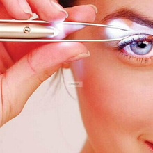 1pc Purple Stainless Steel LED Eyebrow Tweezer Make Up Led Light Eyelash Remover Face Hair Removal Tools
