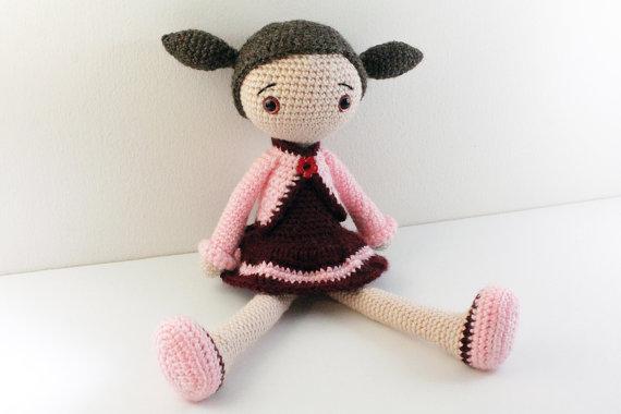 Amigurumi poupée bébé en peluche poupée filles Crochet hochet jouet cadeau