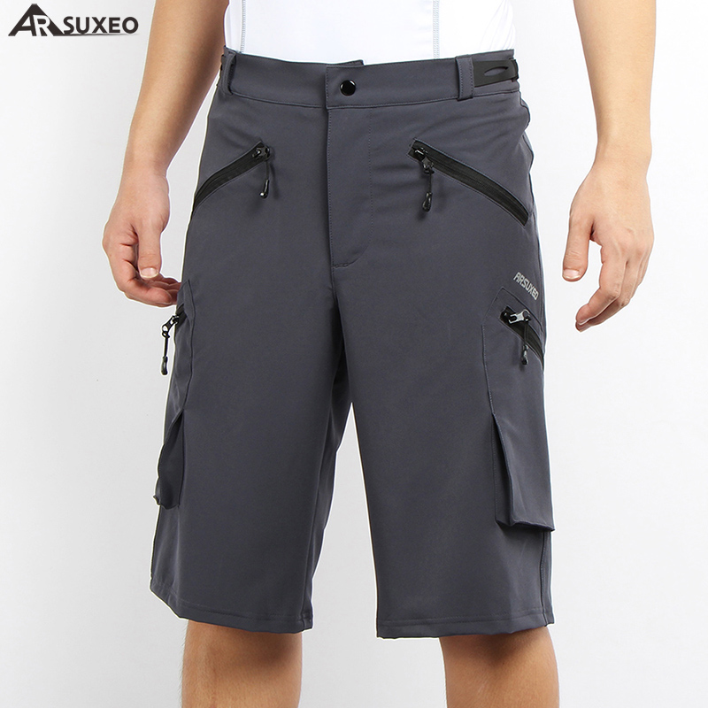ARSUXEO Mens Outdoor Sports Cycling Shorts Downhill MTB Pockets Shorts Mountain Bike Shorts Hiking Fishing Water Resistant 1705 outdoor sports pockets sv012199