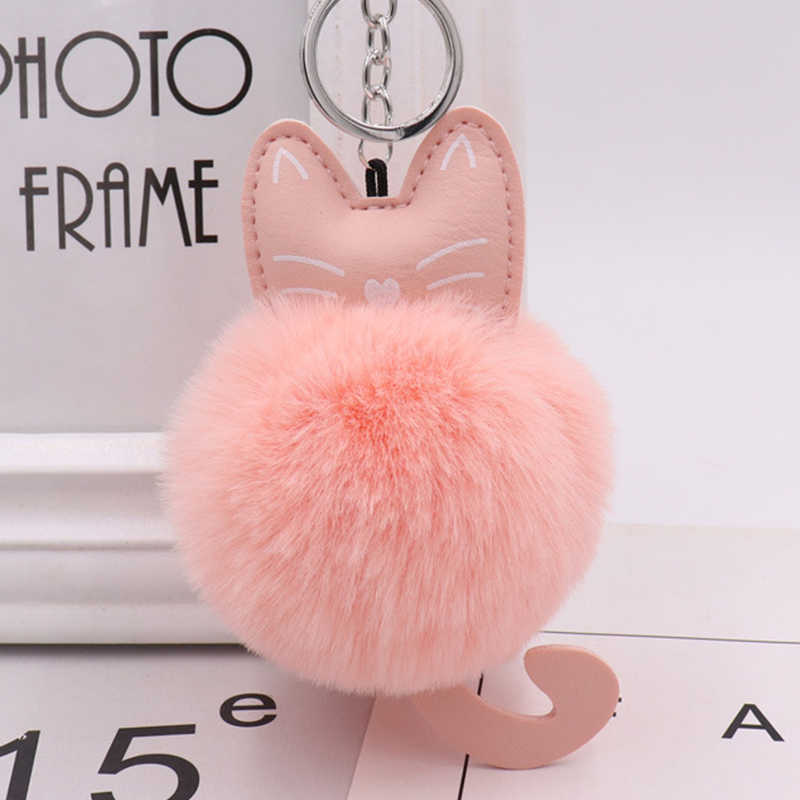 Cute Fluffy Rabbit Fur Pom Pom Cat Keychains Holder Women Car Bag Charms Key Ring Pendant Gifts Party Wedding Accessories Gift