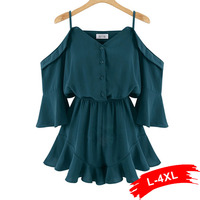 Plus Size Rompers Womens Short Jumpsuit 4Xl 3Xl 2017 Sexy Outfits For Women Elegant Black Half