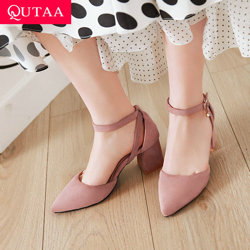 QUTAA 2020 Women Pumps Square High Heel PU Leather Two Piece Buckle Pointed Toe Shallow Shoes Simple and Fashion Style Size34-43QUTAA 2020 Women Pumps Square High Heel PU Leather Two Piece Buckle Pointed Toe Shallow Shoes Simple and Fashion Style Size34-43