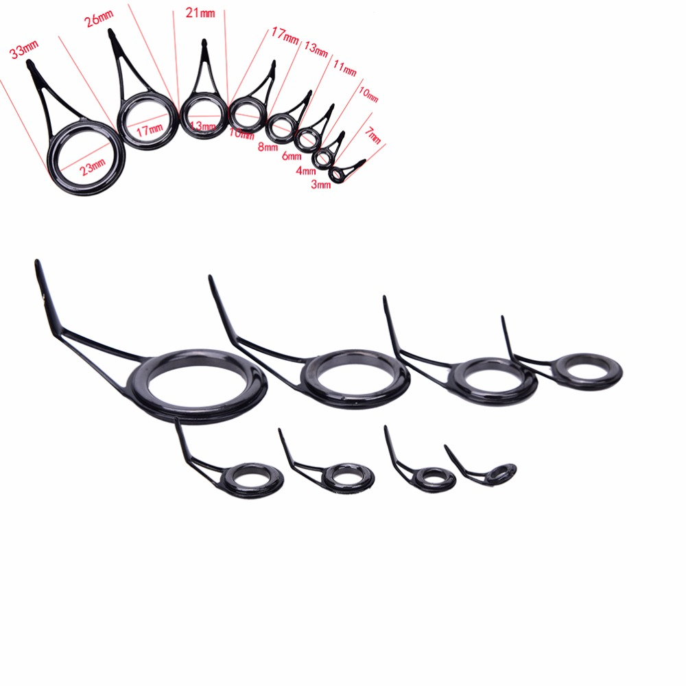 8pcs 8 Size Fishing Rod Guide Tip Top Ring Circle Pole Repair Kit Set Fishing Accessories 6# 8# 10# 12# 16# 20# 25# 30#