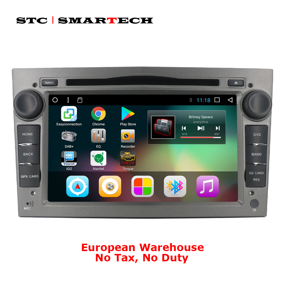 SMARTECH Android 7.1 2 Din Voiture DVD GPS Navigation pour Opel Astra H G J Antara VECTRA ZAFIRA Vauxhall avec CAN-BUS WIFI OBD DVR