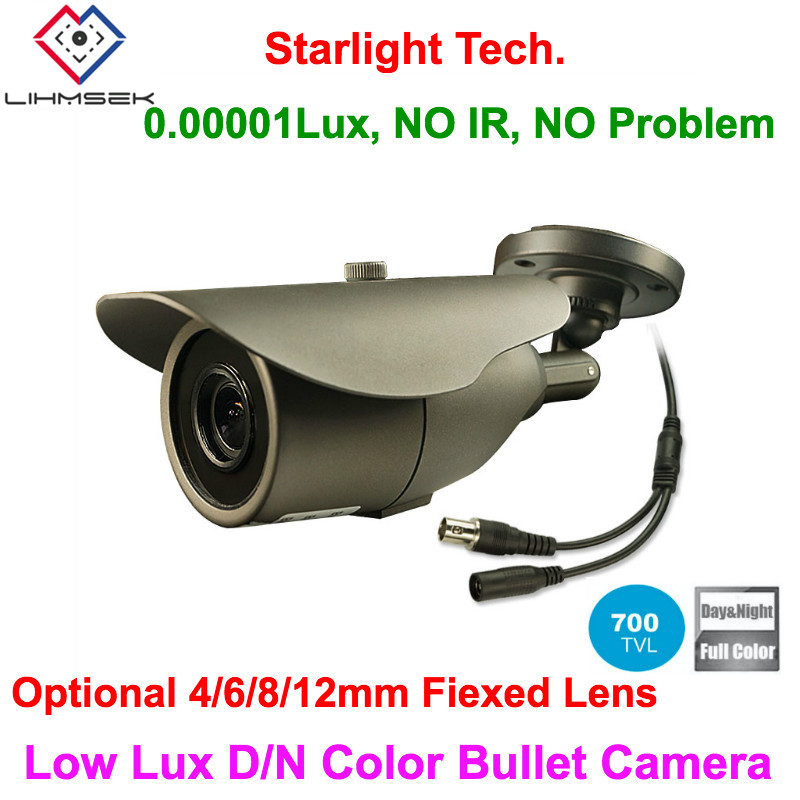 Lihmsek Fixed Lens 700TVL Sony CCD Outdoor Low Lux Day Night Color Image Bullet Camera Starlight