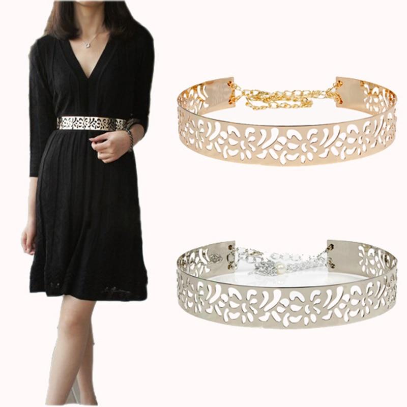Women Summber Gold & Silver Full Metal flower Belt Shinny like  Mirror Waist Belt for Dress Cummerbund Hook with Chain bg-071