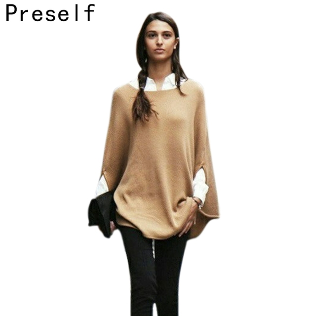 Preself NEW CELEB WOMEN COZY WOOL COTTON KNITWEAR CLOAK CAPE SWEATER SMART JUMPER PONCHO