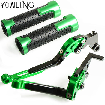 "7/8"" 22mm Motorcycle Hand Grips Handle CNC Rubber Bar Gel Grip+Brake Clutch Lever for Kawasaki ZX10R ZX-10R 2006-2015 2011 2012"