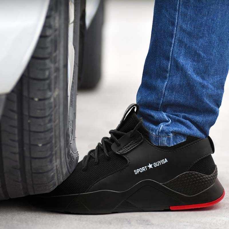 ผู้ชายทำงานรองเท้าเพื่อความปลอดภัย STEEL TOE CAP รองเท้าแฟชั่นรองเท้าผ้าใบ Breathable ทำงานรองเท้า Anti-Smashing เจาะกองทัพรองเท้า